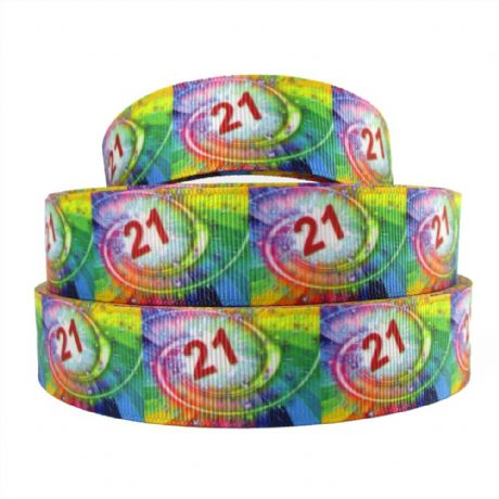 1 METRE OF 21 21ST BIRTHDAY RIBBON SIZE 1 INCH CARD MAKING BIRTHDAY CAKE PLAQUES